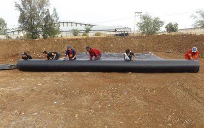 Dokumentasi Pemasangan Geomembrane HDPE Pada Pekerjaan Revitalilasi Tambak di Karanganyar Jawa Tengah